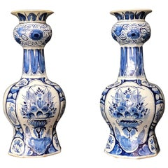 Large Pair of Dutch Delft Vases, Early 18th Century