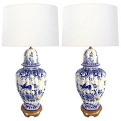 Large Pair of Dutch Delftware Blue & White Glazed Ginger Jar Lamps