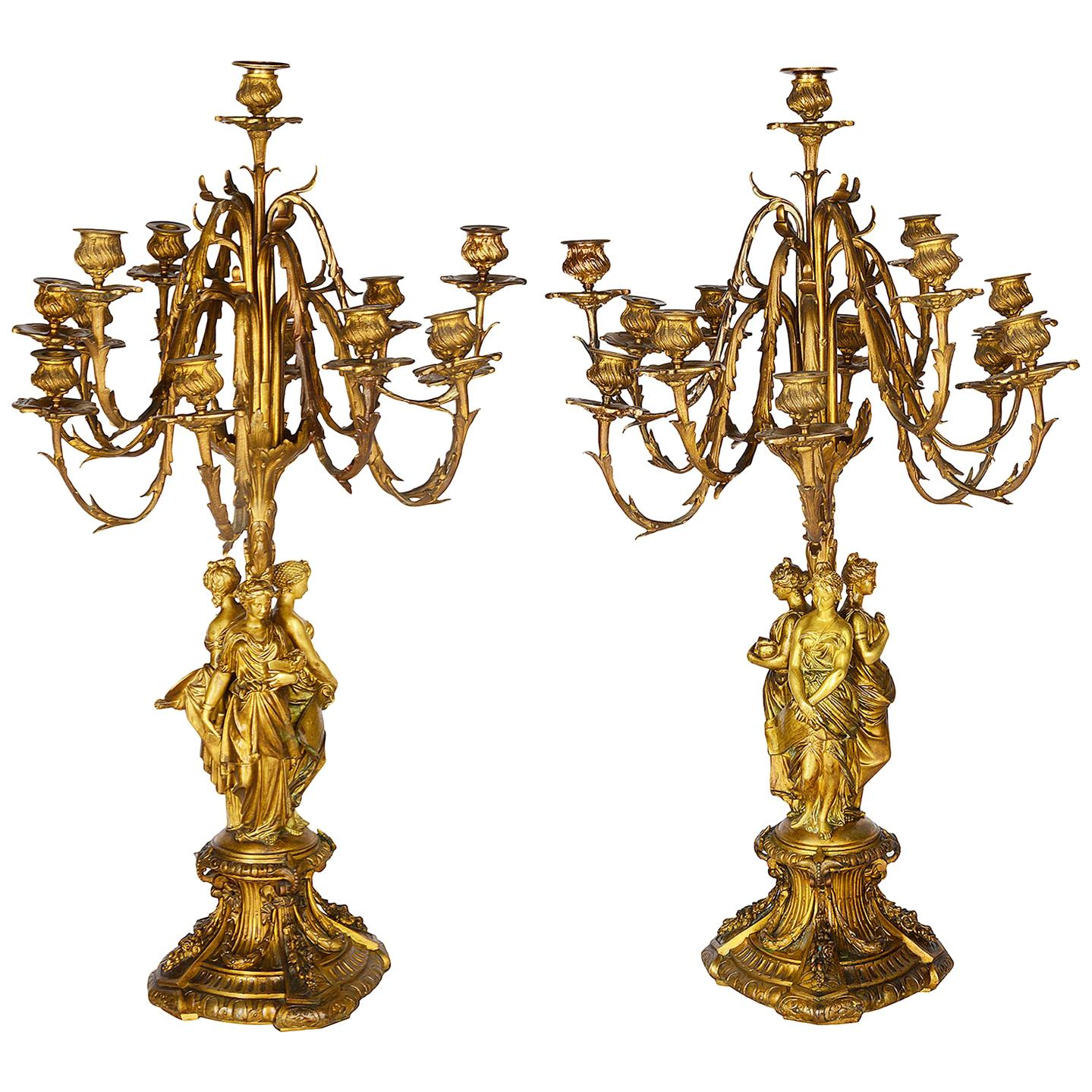 Large Pair of Early 19th Century Gilded Ormolu Candelabra