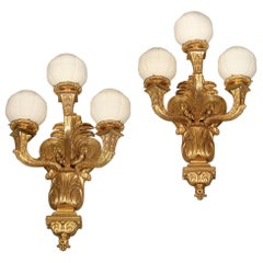 Large Pair of Early 20th Century Gilt Bronze Three-Light Sconces