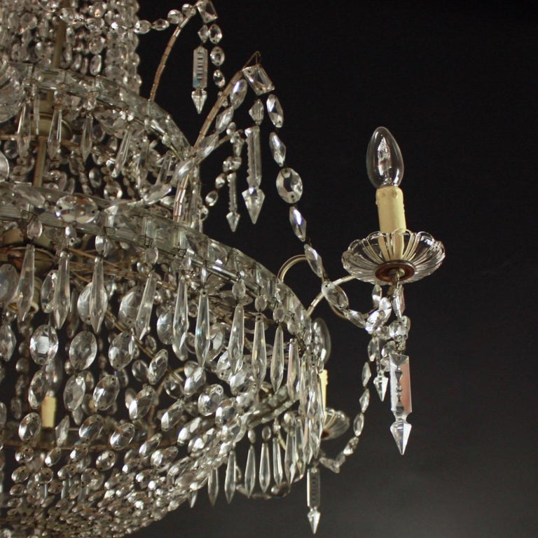 Large Pair of Spanish La Granja Empire Style 7-Light Crystal-Cut Chandeliers For Sale 5