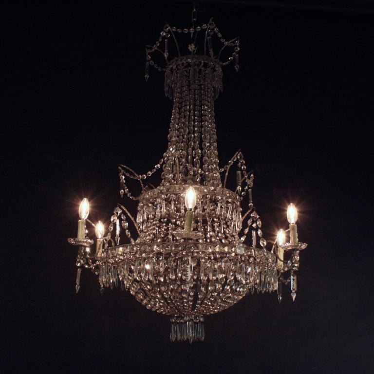 Large Pair of Spanish La Granja Empire Style 7-Light Crystal-Cut Chandeliers For Sale 6