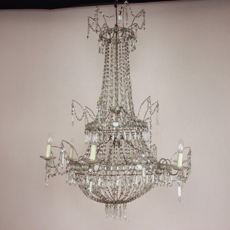 Large Pair of Spanish La Granja Empire Style 7-Light Crystal-Cut Chandeliers For Sale 7