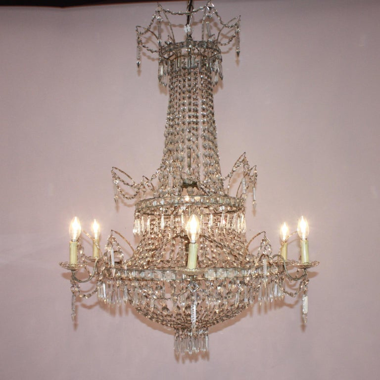 Large Pair of Spanish La Granja Empire Style 7-Light Crystal-Cut Chandeliers In Good Condition For Sale In Berlin, DE
