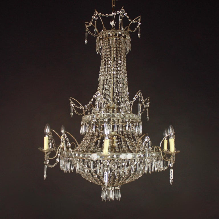 19th Century Large Pair of Spanish La Granja Empire Style 7-Light Crystal-Cut Chandeliers For Sale