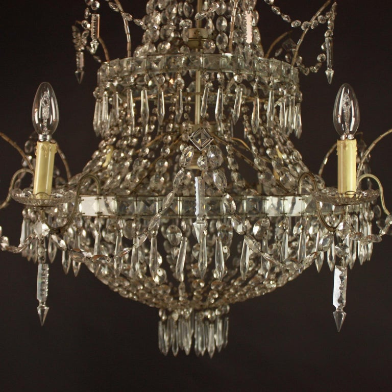 Metal Large Pair of Spanish La Granja Empire Style 7-Light Crystal-Cut Chandeliers For Sale