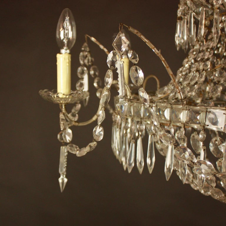 Large Pair of Spanish La Granja Empire Style 7-Light Crystal-Cut Chandeliers For Sale 1