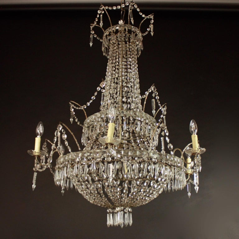 Large Pair of Spanish La Granja Empire Style 7-Light Crystal-Cut Chandeliers For Sale 2