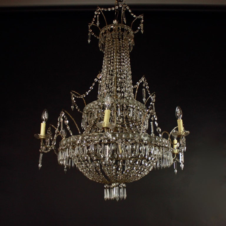 Large Pair of Spanish La Granja Empire Style 7-Light Crystal-Cut Chandeliers For Sale 3