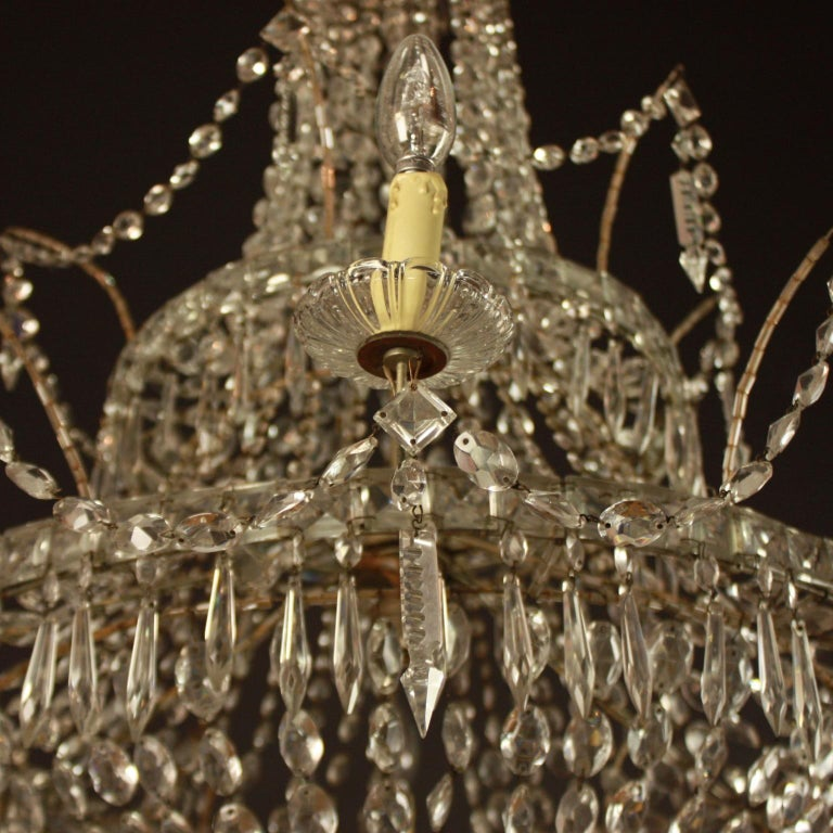 Large Pair of Spanish La Granja Empire Style 7-Light Crystal-Cut Chandeliers For Sale 4