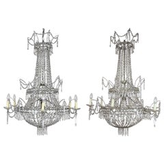 Large Pair of Spanish Empire Style 7-Light Crystal-Cut Chandeliers