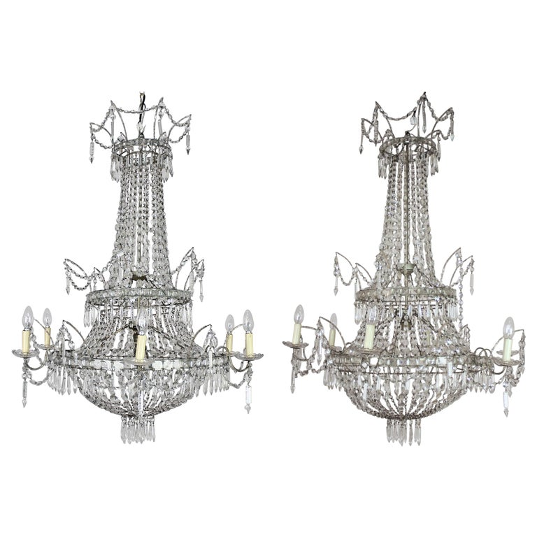Large Pair of Spanish La Granja Empire Style 7-Light Crystal-Cut Chandeliers For Sale