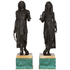 Large Pair of Empire Style Patinated Bronze Sculptures