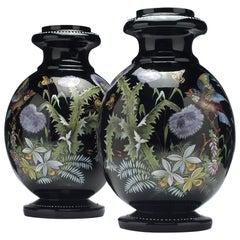 Large Pair of Enamelled 19th Century Harrach Black Glass Vases, circa 1890