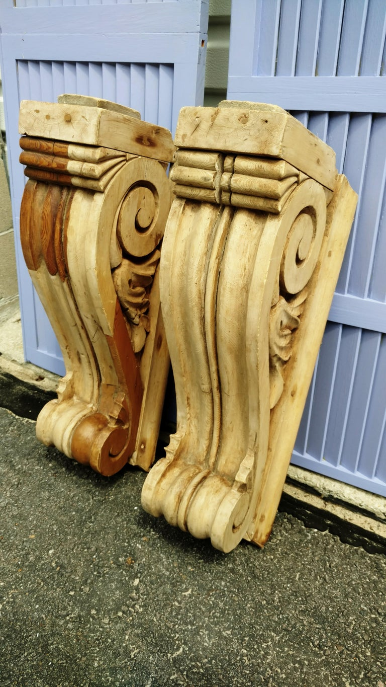 Large Pair of English Antique Corbels  For Sale 4