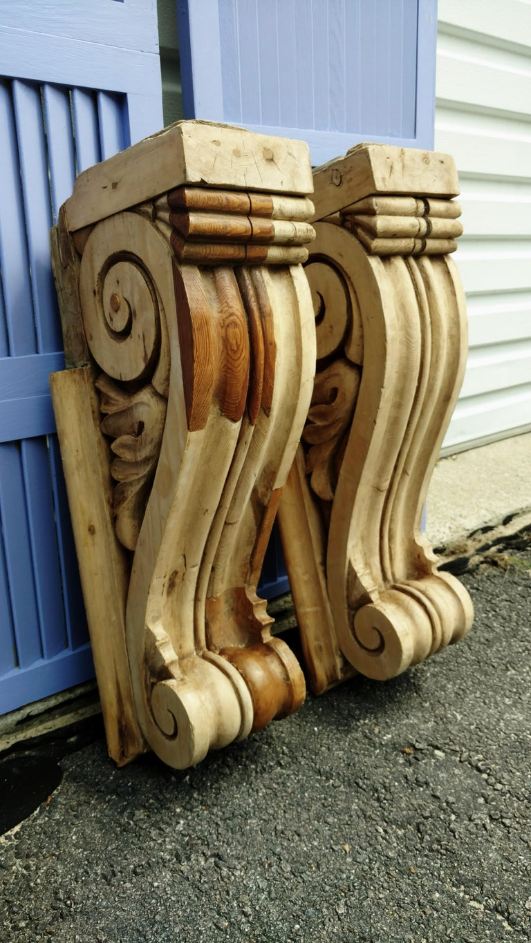 Large Pair of English Antique Corbels  For Sale 6
