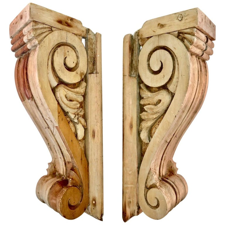 Large Pair of English Antique Corbels  For Sale
