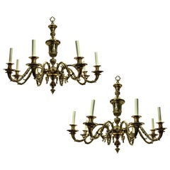 Large Pair of English Charles II Style Chandeliers