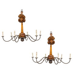 Large Pair of English Six-Light Chandeliers with Carved Fruits, circa 1920
