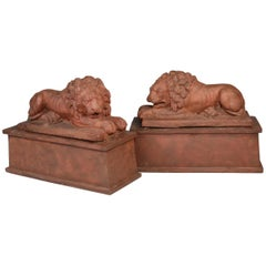 Large Pair of English Terracotta Recumbent Lions on Later Bases, circa 1830