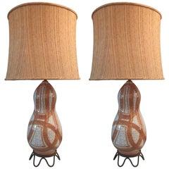 Large Pair of Ernestine of Salerno, Majolica Ceramic Lamps