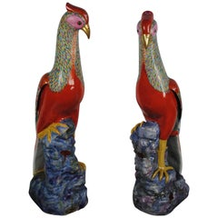 Large Pair of Famille Rose Pheasants by Samson