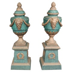 Large Pair of Faux Malachite and Faux Bronze Painted Cast Iron Urns with Saytrs