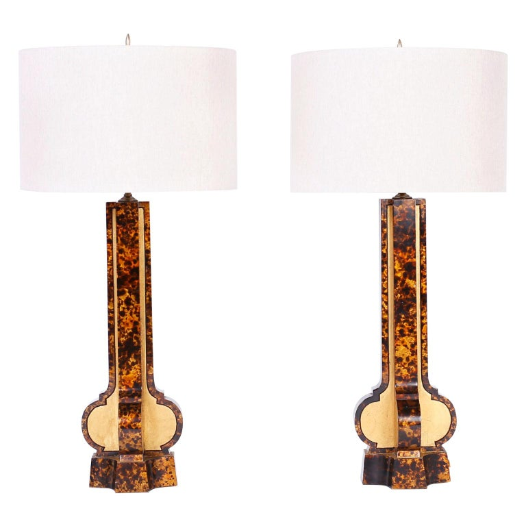 Large Pair of Faux Tortoise Wood Table Lamps For Sale