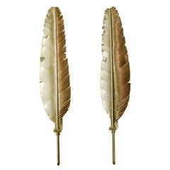 Large Pair of Feather Brass Sconces in the Manner of Maison Jansen