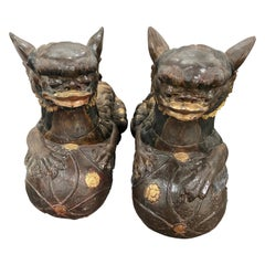 Large Pair of Foo Dogs Carved from Solid Wood Chinese Style