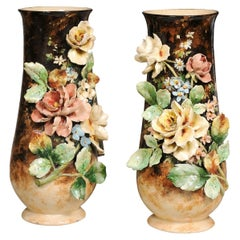 Large Pair of French 19th Century Barbotine Vases with High Relief Floral Décor