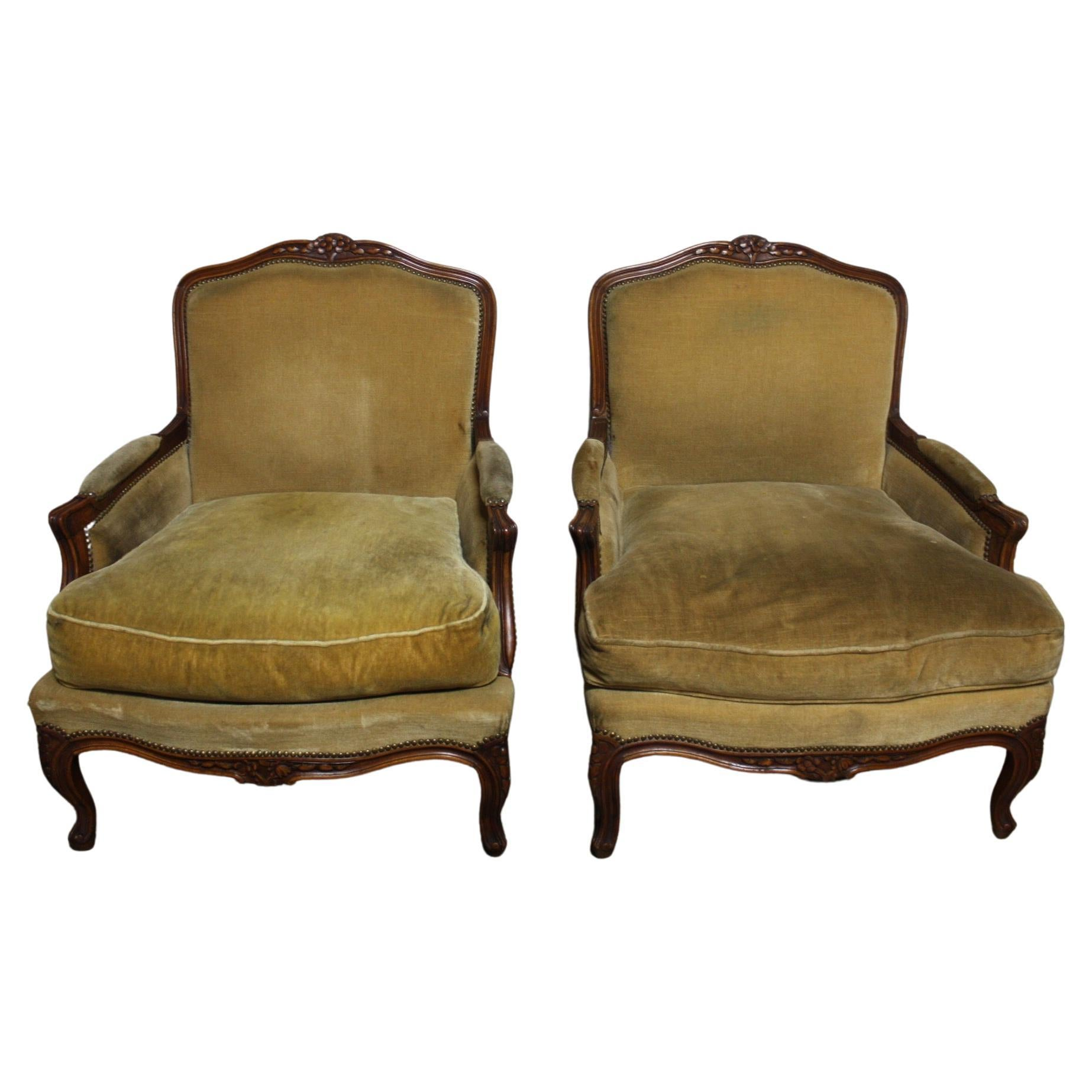Large Pair of French 19th Century Bergere Chairs