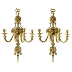 Large Pair of French 19th Century Ormolu Wall Lights
