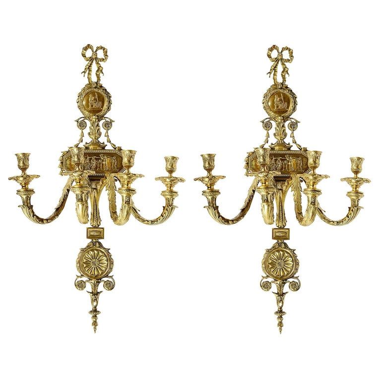 Large Pair of French 19th Century Ormolu Wall Lights For Sale