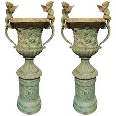 Large Pair Of French Bronze Pedestal Urns