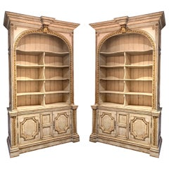 Large Pair of French Carved and Painted Bookcases