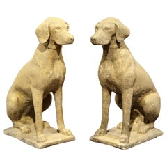 Large Pair of French Carved Stone Verdigris Patinated Labrador Dog Sculptures