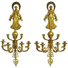 Large Pair of French Empire Style Gilt Bronze Seven-Light Wall Lights