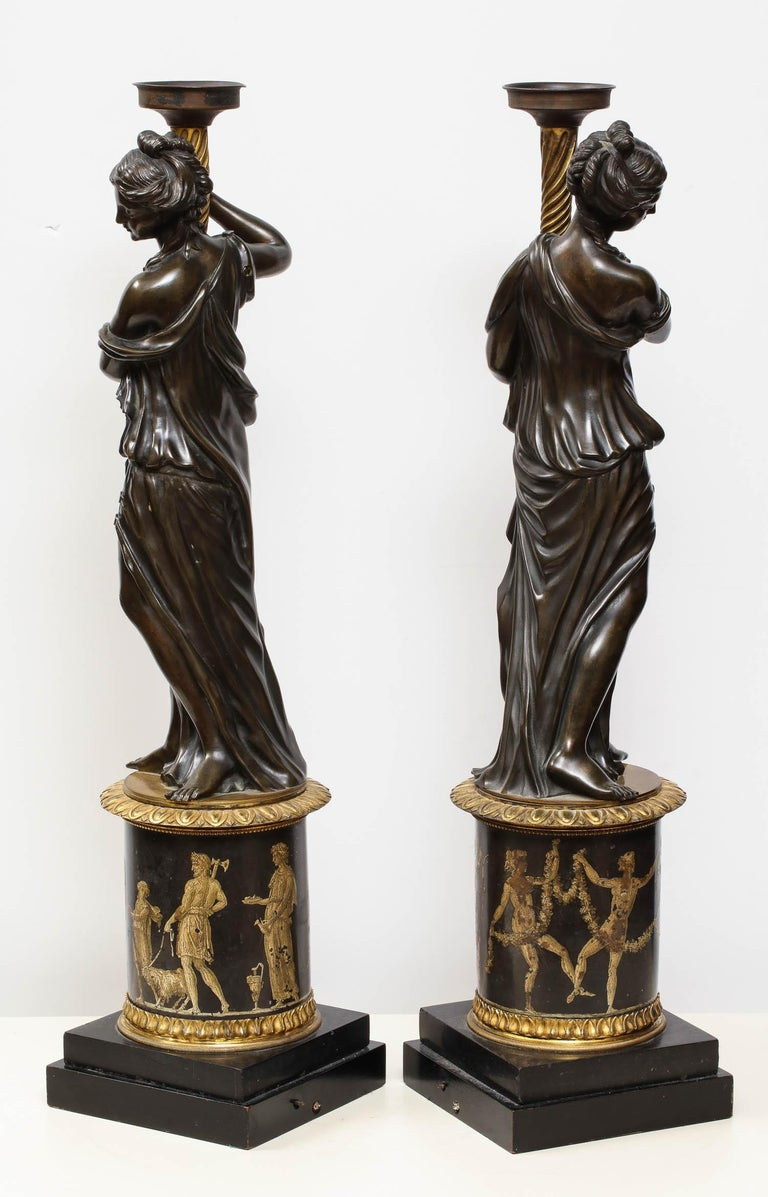 Large Pair of French Gilt and Patinated Bronze Figural Candleholders For Sale 5