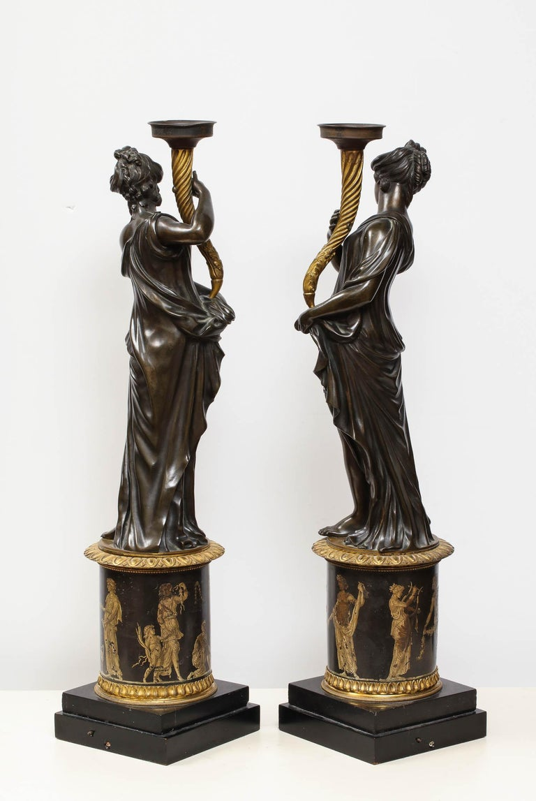 Large Pair of French Gilt and Patinated Bronze Figural Candleholders For Sale 6