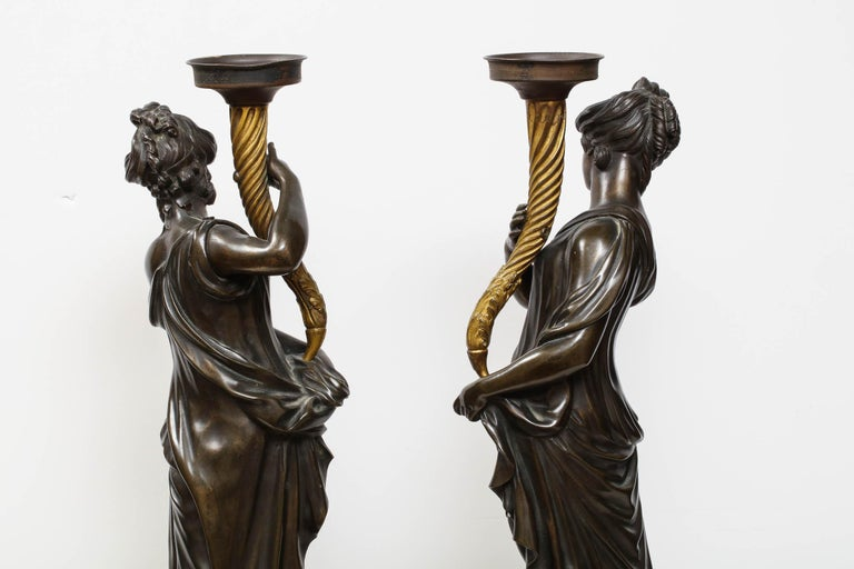 Large Pair of French Gilt and Patinated Bronze Figural Candleholders For Sale 7