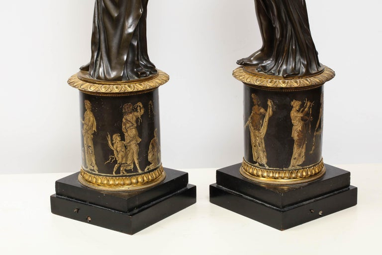 Large Pair of French Gilt and Patinated Bronze Figural Candleholders For Sale 8