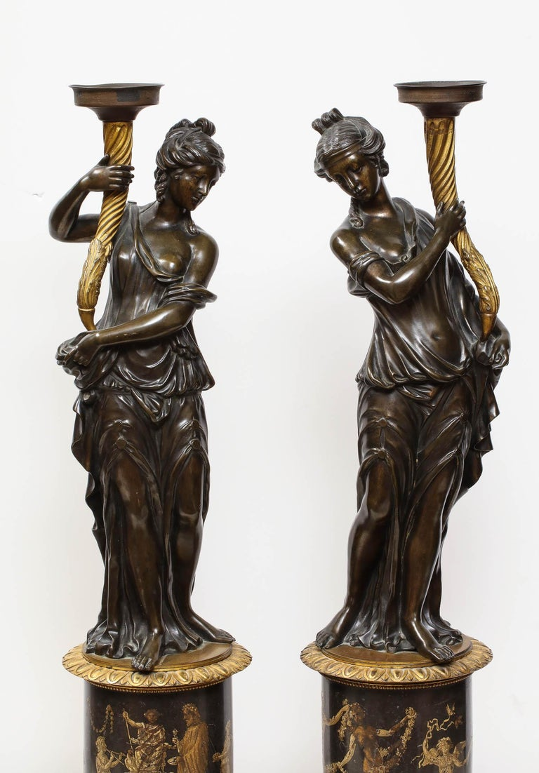 Regency Large Pair of French Gilt and Patinated Bronze Figural Candleholders For Sale