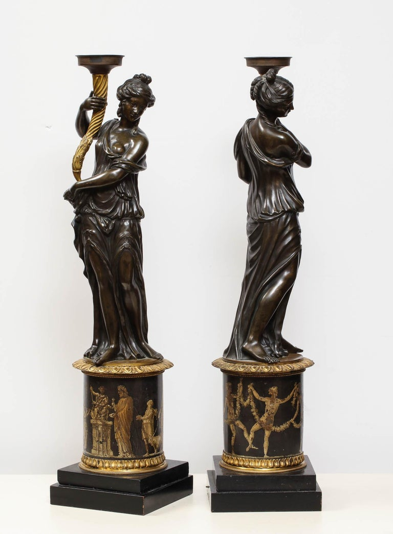 Large Pair of French Gilt and Patinated Bronze Figural Candleholders For Sale 3