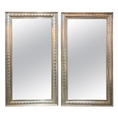 Large Pair of French High Style Silver Leaf Mirrors
