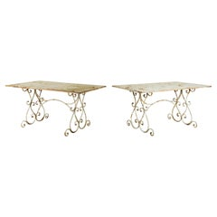Large Pair of French Metal Tables