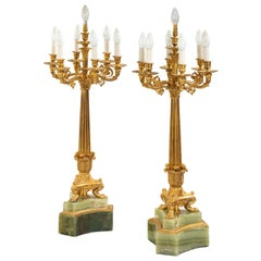 Large Pair of French Onyx and Ormolu Lamps
