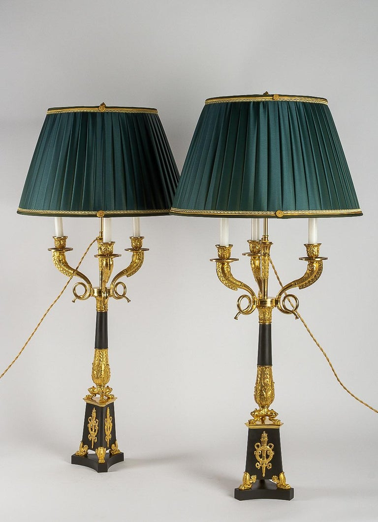 Large Pair of French Restauration Period Candelabras Converted in Table Lamps For Sale 12