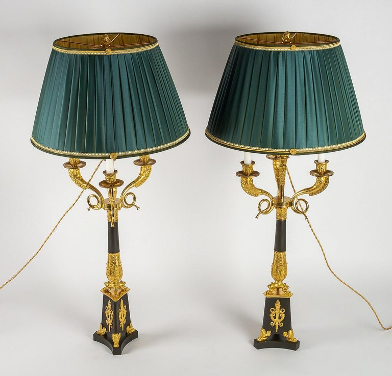 Large Pair of French Restauration Period Candelabras Converted in Table Lamps For Sale 13
