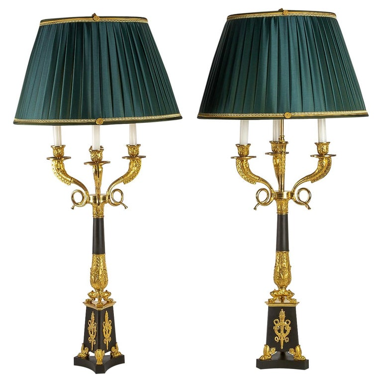 Large Pair of French Restauration Period Candelabras Converted in Table Lamps For Sale